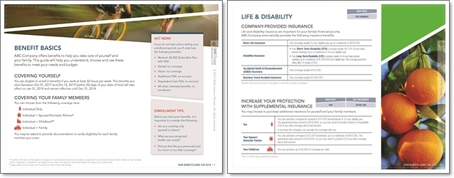 Enrollment guide example pages