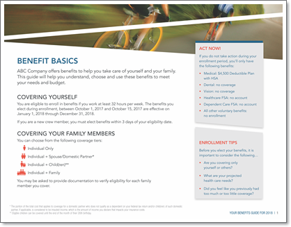 Benefits Enrollment Guide page example